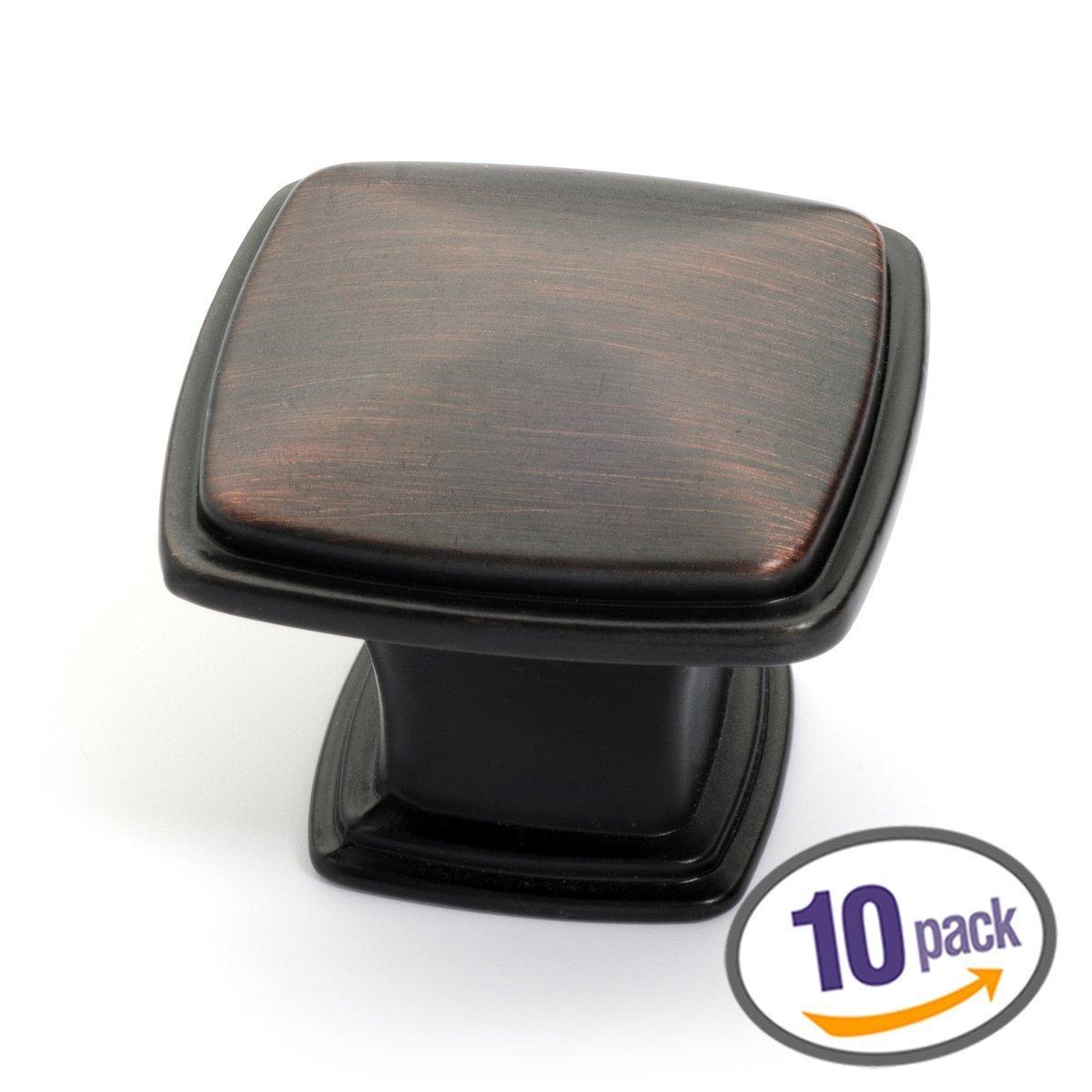 Dynasty Hardware K-81091-10B-10PK Cabinet Hardware 1-1/4-Inch Square Knob, Oil Rubbed Bronze, 10-Pack
