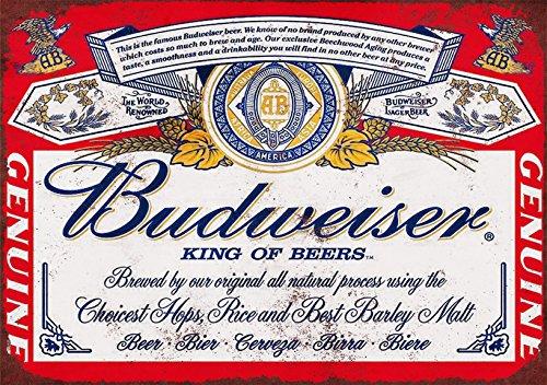 Shizzle Cartel publicitario Retro Budweiser, A5, en Aluminio Cepillado.
