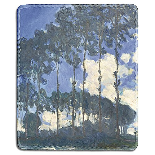 dealzEpic - Art Mousepad - Natural Rubber Mouse Pad with Famous Fine Art Painting of Poplars on The River Epte by Claude Monet - Stitched Edges - 9.5x7.9 inches
