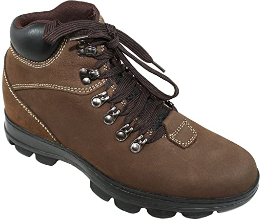 K228112 - 3 Inches Taller - Height Increasing Elevator Shoes (Brown Lace-up Boots)