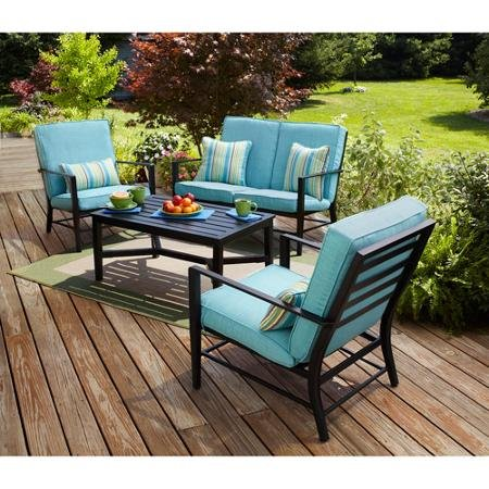 Adjustable Mainstays Rockview Comfortable 4-Piece Patio Conversation Set, Seats 4 Amazing Felling Rest Durable Steel Tempered Safety Adaptable Not Expensive Best Original Great House for Family (Sets Furniture Best Patio Rated)
