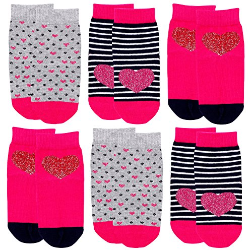 Crew Socks for Girls, Toddler Big Little Kids' Cotton Socks with Fashion Novelty Love Hearts, Polka Dots, Stripes - 6 Pairs by IMOZY (Image #2)