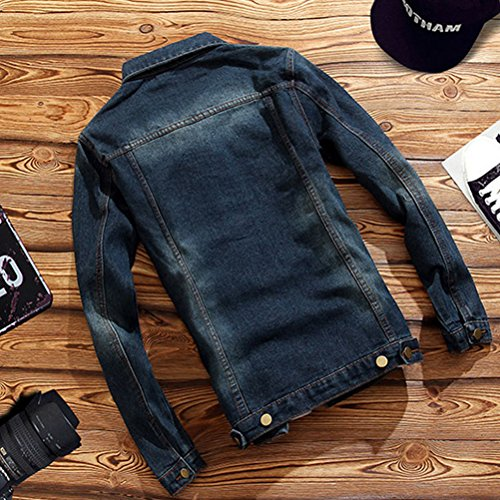 Blue Jacket Coat suave Cómodo y Denim Sleeve Long Stylish Zhuhaitf Classic Slim Washed Mens wOTyWpzq7z