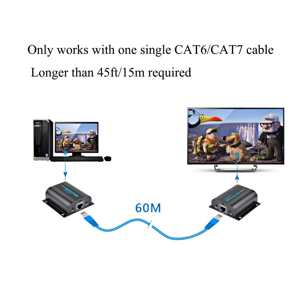Agptek Lkv372a 60m 190ft 1080p Hd Hdmi Network Extender Verizon Fios Cat5e Wiring Diagram Over Single Cat6 6a 7 Ethernet Cable With Ir Remote Control Electronics