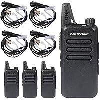 Zastone X6 Walkie Talkie 16 Channels 3W UHF Two-Way Radio with Earpiece, 400-470MHz PTT FM Transceiver (4 Pack)