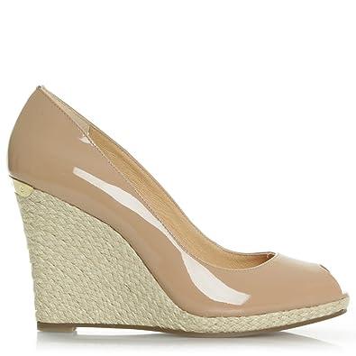 9768e7299e3 Michael Kors Keegan Patent Dark Nude Leather Peep Toe Wedge Shoe 39 Tan  Leather