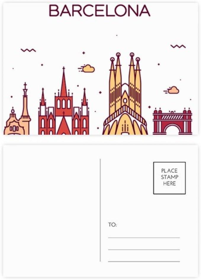 DIYthinker Modelo de Barcelona, España plana Landmark Gracias tarjeta postal de cumpleaños Conjunto de correo lateral 20Pcs 5,7 pulgadas x 3,8 pulgadas Multicolor: Amazon.es: Oficina y papelería