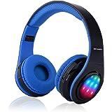 【Bluetooth ワイヤレス ヘッドフォ】Ecandy ステレオ音楽折りたたみ式オーバーイヤーBluetoothヘッドフォ 3 LEDライトモード搭載 内臓マイクハンズフリー通話 (ブルー)