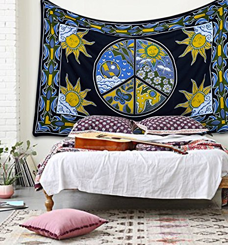 Popular Twin Peace sign with sun moon tapestry Hippie Indian Tapestry Elephant Mandala Throw Wall Hanging Gypsy tapestries Bedspread Tye dye tapestry By Popular (Peace Sign Tapestries)