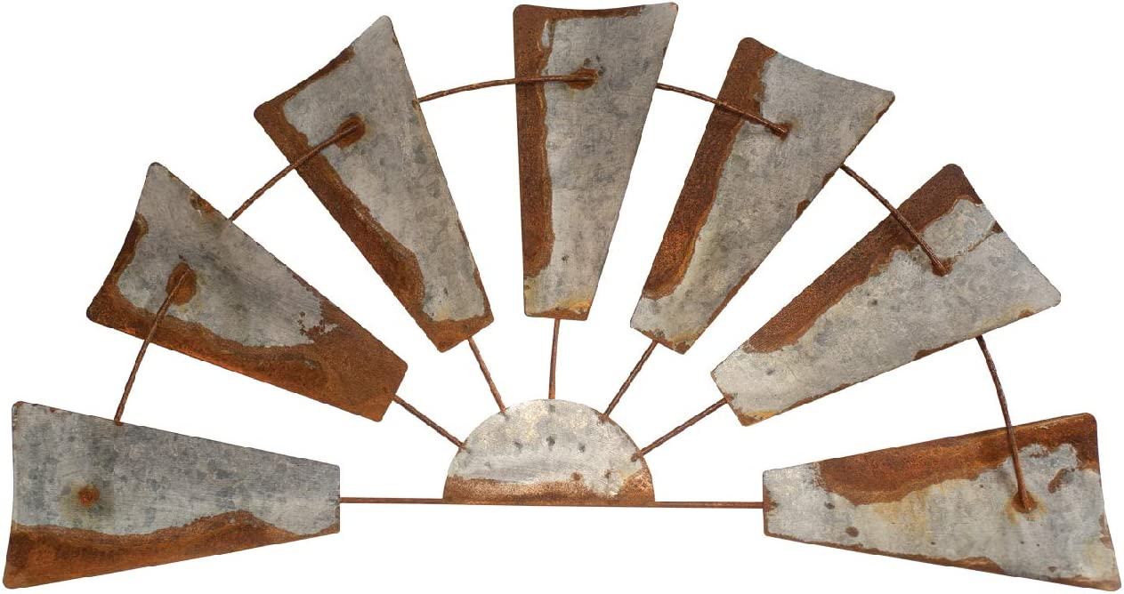 "Rustic Farmhouse Windmill Wall Decor -32"" Rusty Galvanized Half Round Metal Country Farm Wind Mill Home Decor. Windmills Design Accent in Joanna Gaines Fixer Upper Style for House Walls Kitchen barn"