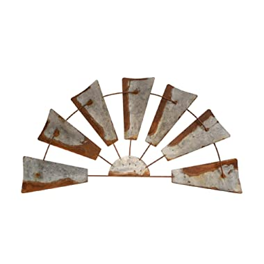 Rustic Farmhouse Windmill Wall Decor -20  Rusty Galvanized Half Round Metal Country Farm Wind Mill Home Decor. Windmills Design Accent in Joanna Gaines Fixer Upper Style for House Walls Kitchen barn