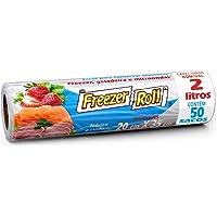 Saco para alimentos Freezer-Roll, 2 litros, transparente, rolo com 50 sacos cada