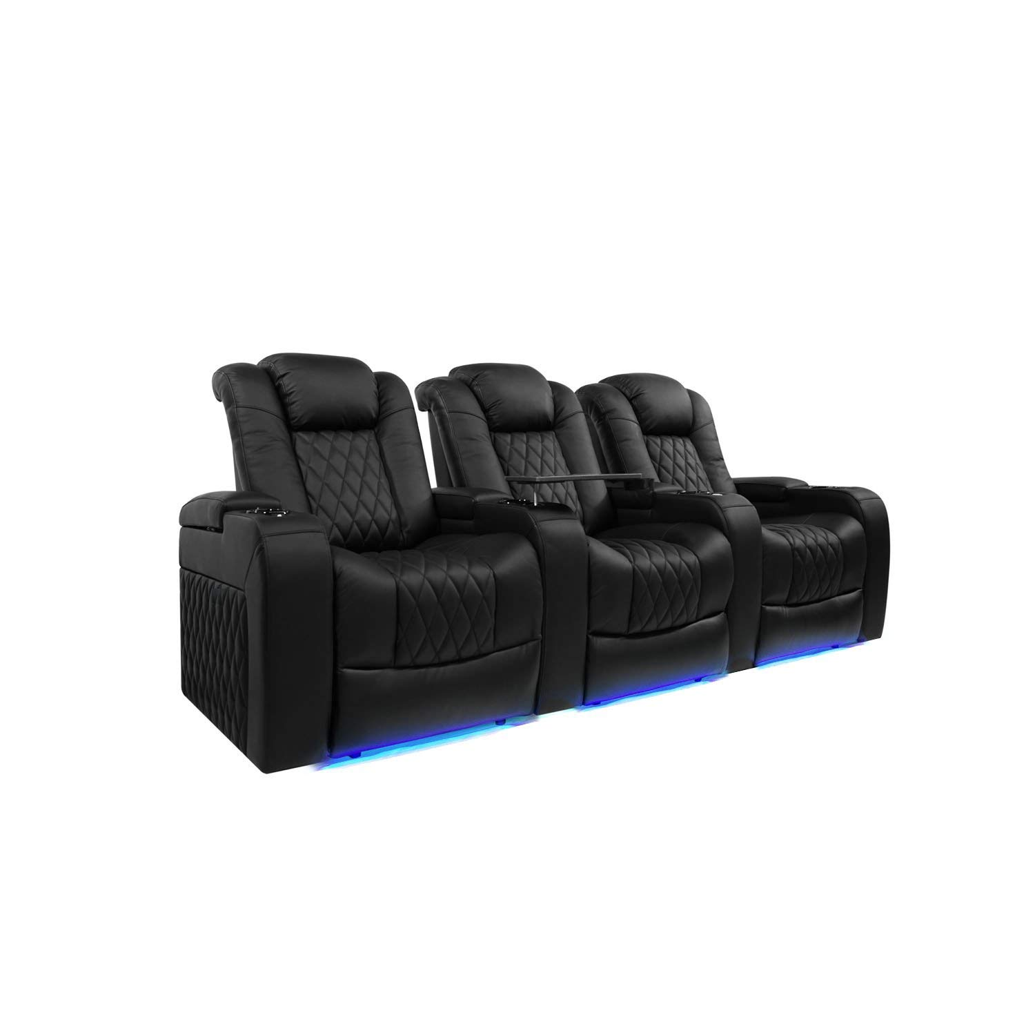 Valencia Tuscany Top Grain Nappa Leather Power Reclining, Power Lumbar, Power Headrest Home Theater Seating (Row of 3, Black) by Valencia Seating