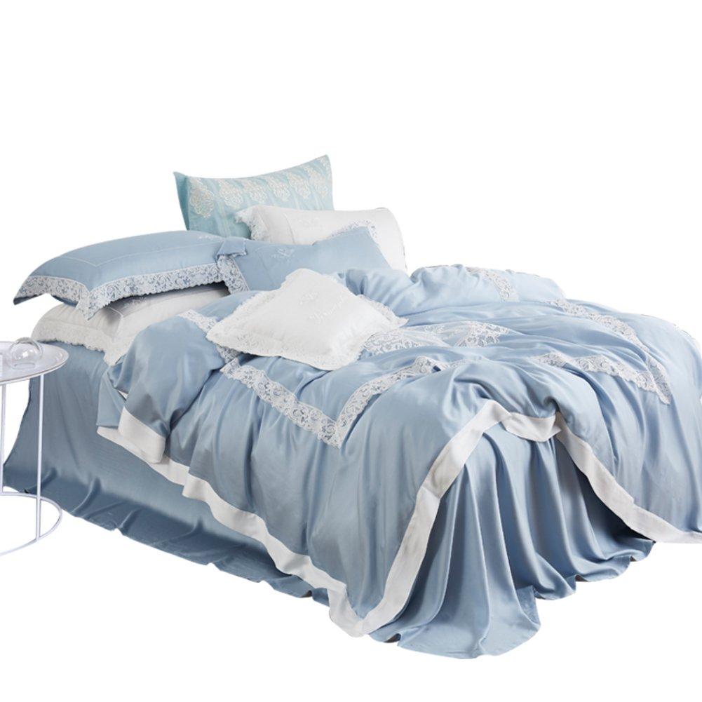寝具ブルー高級テンセル キルト刺繍の 80 個セット ヨーロッパのシンプルなレースの 4 枚セット-F 220x240cm(87x94inch) B07F2R3RQT 220x240cm(87x94inch)|F F 220x240cm(87x94inch)