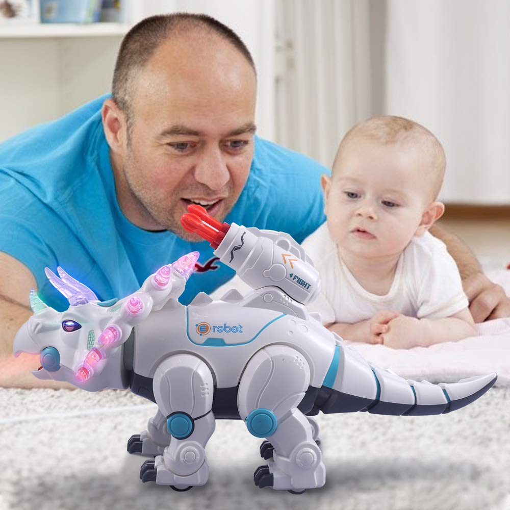 wodtoizi RC Robot Dinosaur Intelligent Remote Control Walking Dinosaur Toy Interactive Educational Dancing Singing Missiles Launching Water Mist Spraying Story Telling Learning Dino Robot Triceratops by wodtoizi (Image #8)