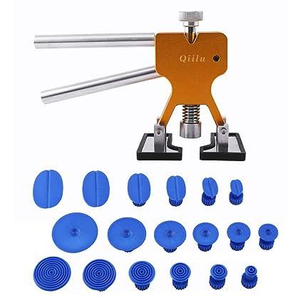 Qiilu Kit de herramientas para reparación de abolladuras Coche - Tirador del pegamento del levantador + 18 pestañas Parche de reparación paintless ...