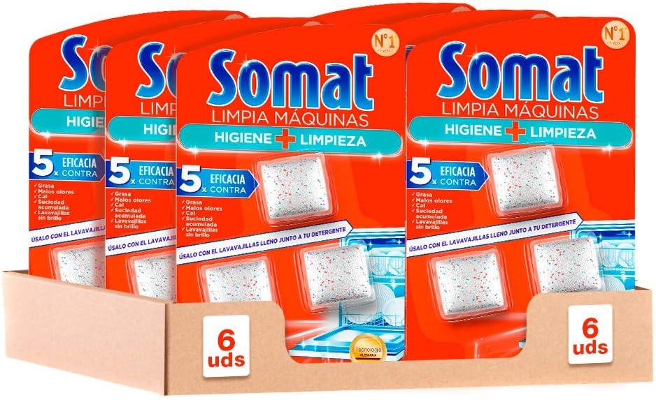 Somat Aditivo Lavavajillas Pastillas Limpia Máquinas 3 Dosis - Pack de 6, Total: 18 Dosis
