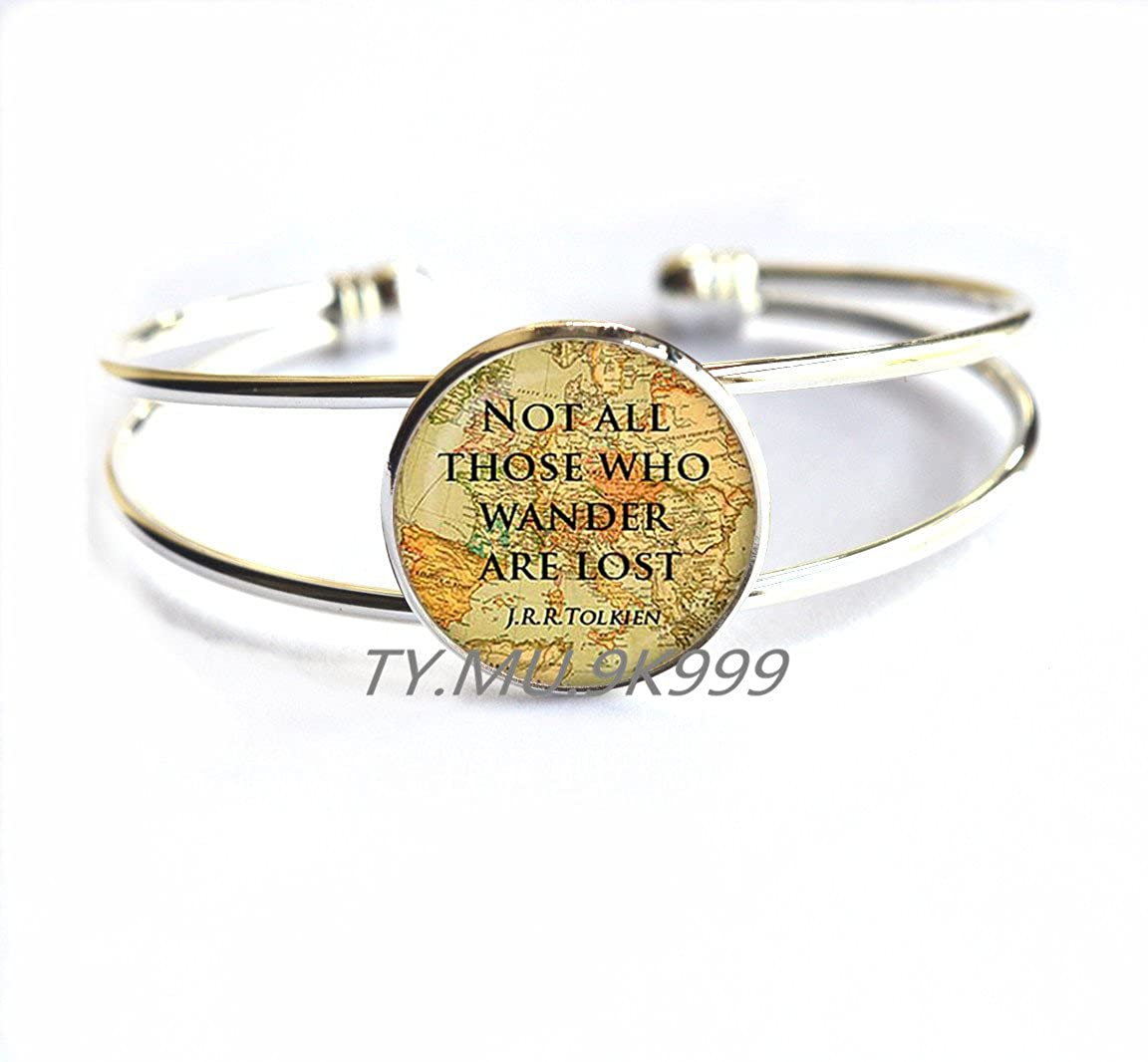 Quote Bracelet Inspirational Jewelry.Y008 Yao0dianxku Not All Those Who Wander Are Lost Quote Bracelet Inspirational Jewelry Inspiring Jewelry