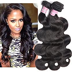 Darlena 8A Brazilian Virgin Hair Body Wave 3 Bundles 14 16 18 inch Virgin Human Hair Bundles Brazilian Hair Weave Total 300 Grams Natural Color