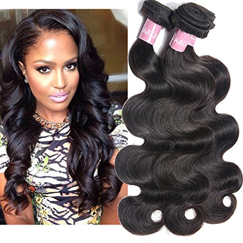 Darlena 8A Brazilian Virgin Hair Body Wave 3 Bundles 16 18 20 inch Virgin Human Hair Bundles Brazilian Hair Weave Total 300 Grams Natural ()