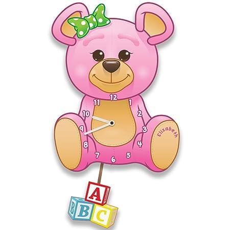 Forever Bespoke Pink Teddy Bear Silent Tick Nursery Pendulum Wall