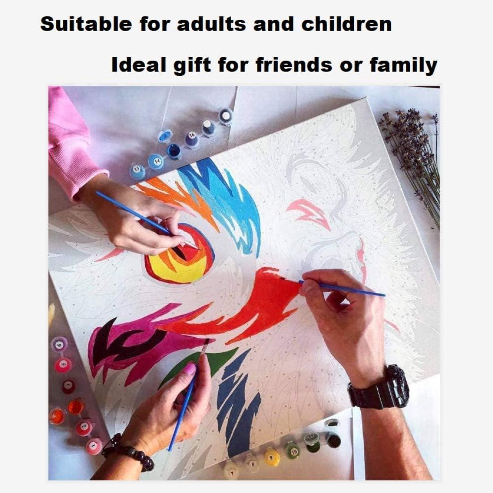 HGlSG DIY Dipingere con i Numeri Statua Classica del Buddha dipingere con i Numeri Adulti con Pennello e Vernice acrilica Pittura per Adulti con Numeri Accessori per50x60cm Nessuna Cornice