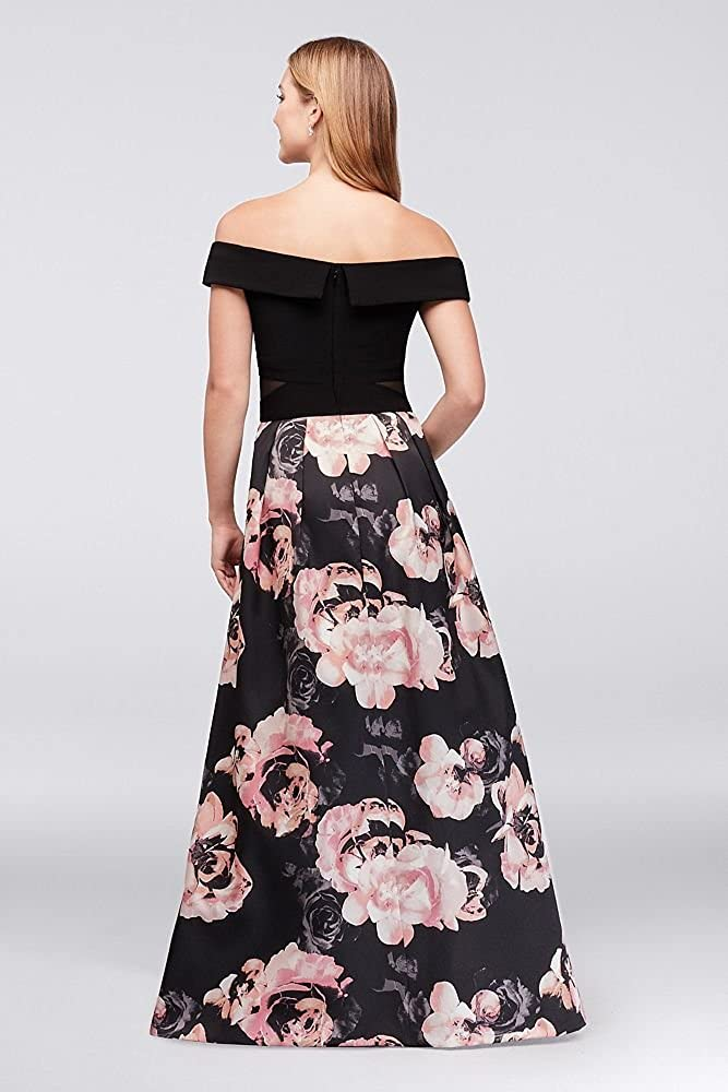 0f462064 Off-The-Shoulder Floral Jersey and Satin Ball Gown Style 1173X at Amazon  Women's Clothing store: