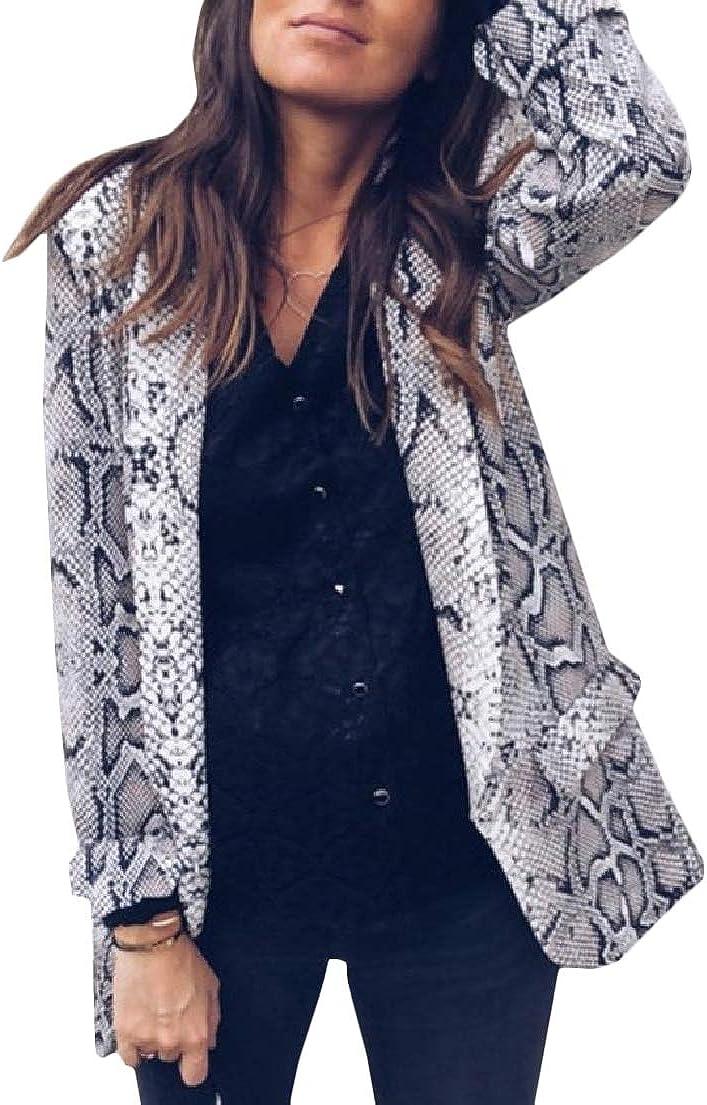 XXBlosom Womens Casual Blazer Coat Open Front Lapel Printed Jackets