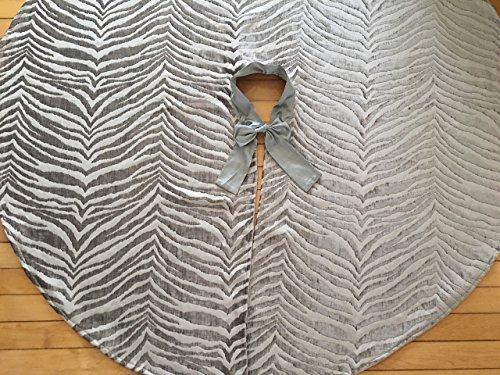 Silver Christmas Tree skirt, Modern Chenille Velvet Christmas Tree skirt, Animal Print Christmas tree skirt 54