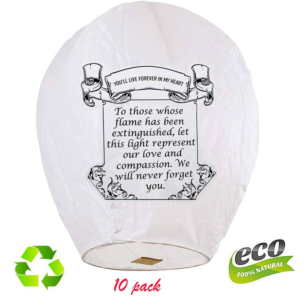 Nuluphu 100% ECO Biodegradable Flying Chinese Sky Lanterns, No Assembly Required(no Metal Wires) White Wish Lights for Weddings, Birthdays, Memorials (Pack of 10)(Giant) (White) by Nuluphu