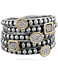 Sterling Silver and 14k Yellow Gold Stacked Diamond Rings, Set of Five (0.02 cttw, I-J Color, I2-I3 Clarity)
