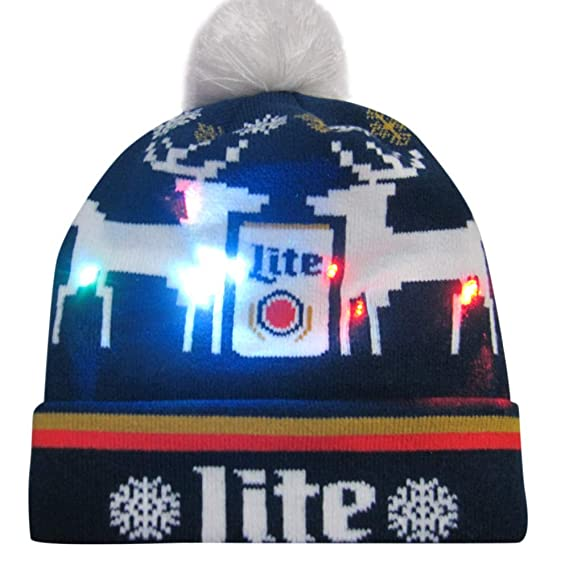 Amazon.com   Elaco Soft and Comfortable Acrylic Fabric Material Colorful  Merry Christmas LED Light-Up Hat Knitted Ugly Sweater Holiday Cap Night  Cycling Or ... c4bf20a084ba
