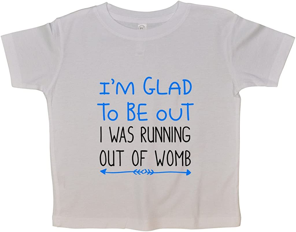 """Funny Threadz Kids Cute Girls or Boys Funny Onesie /""""Running Out of Womb/"""" Body Suit 0-3 Months White"""