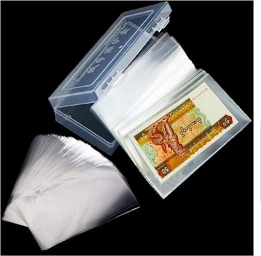 Osuter 200PCS Colección de Billetes Bolsillos Transparente Plastico Album de Billetes con Protectora Caja para Colección de Billetes: Amazon.es: Hogar