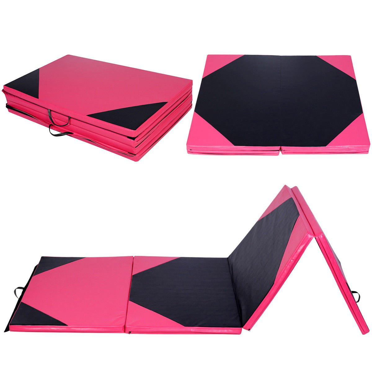 COSTWAY Gymnastics Mat Thick Folding Panel Gym Fitness Exercise Pink & Black