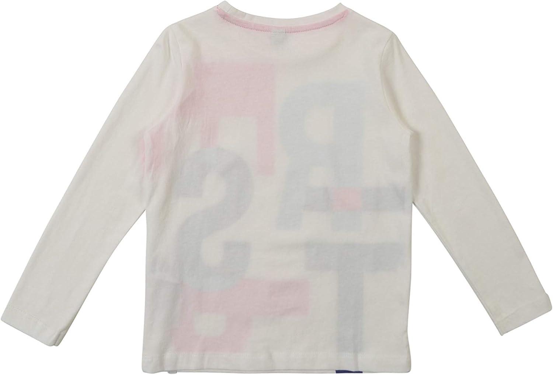 ESPRIT Details M/ädchen Langarmshirt//Longshirt mit Glitzer Logo Print in wei/ß 110 RN1008301