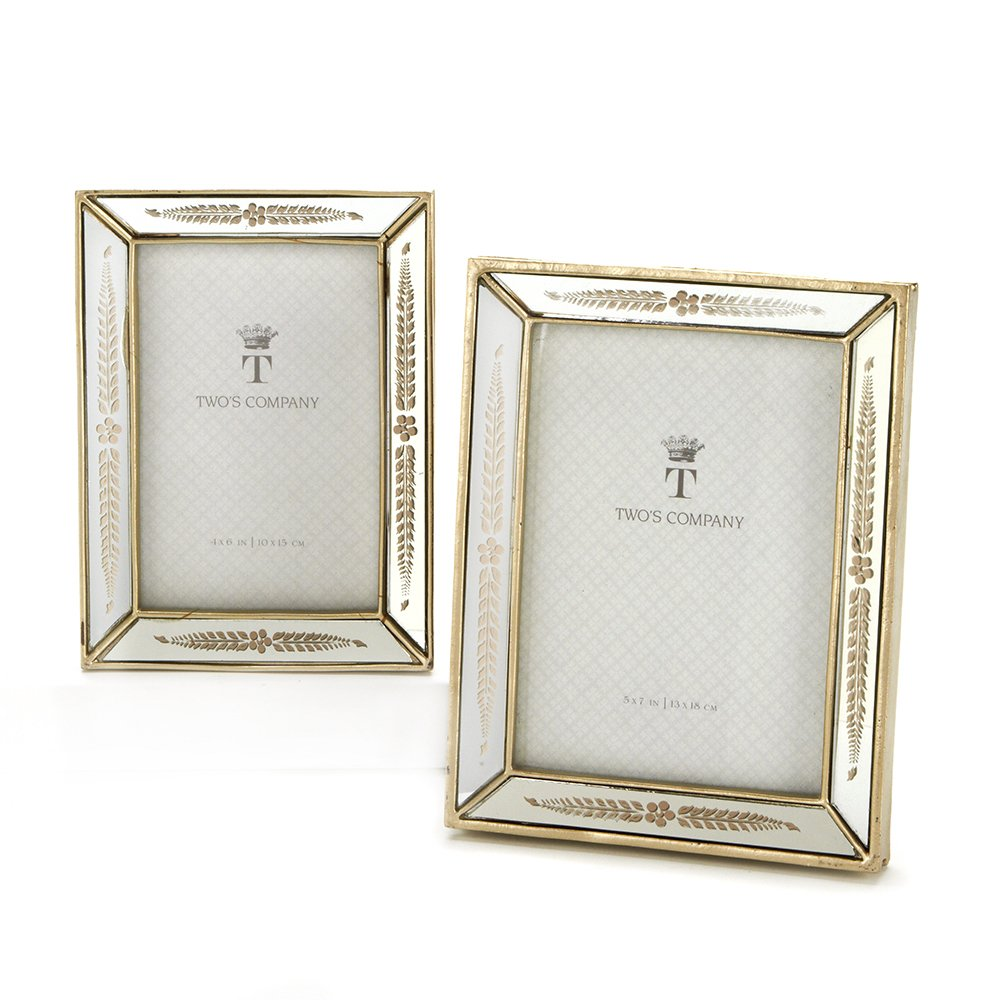 Amazon.com - Two\'s Company Mirrored Photo Frames, Set of 2 - Picture ...