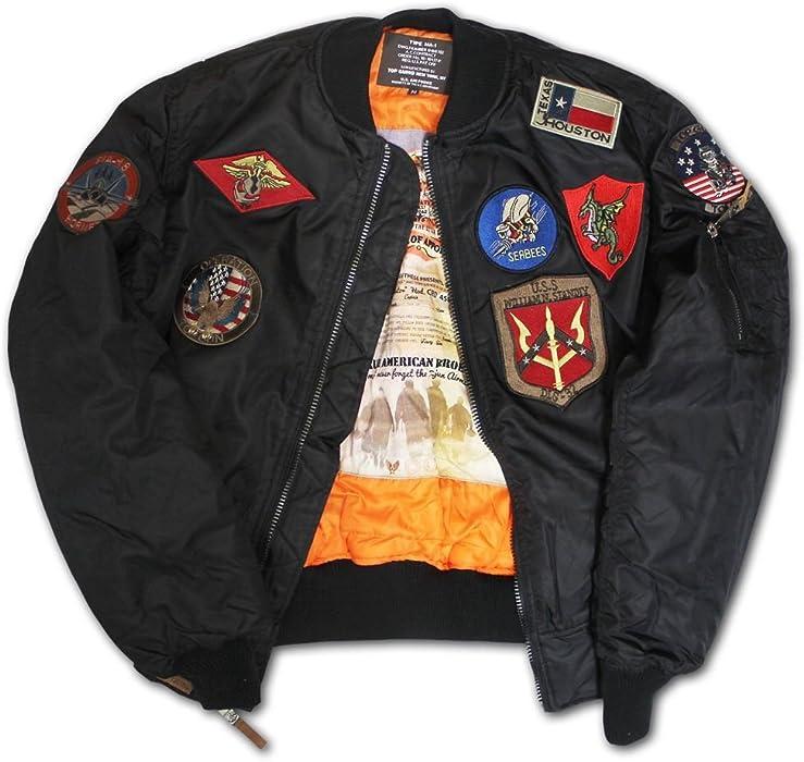 1b98038fa Top Gun MA 1 Nylon Bomber Jacket with Patches Black at Amazon Men s ...