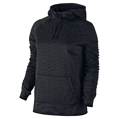 ee926f1f6d28 Nike Womens Therma All Time Mirror Mesh Pullover Hoodie Anthracite Black  Black Small