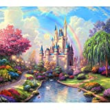 Farsla Rainbow Castle Picture Landscape 5D Diy Round Diamond Painting Mosaics Rhinestone Painting for Wall Decor 12X16inch