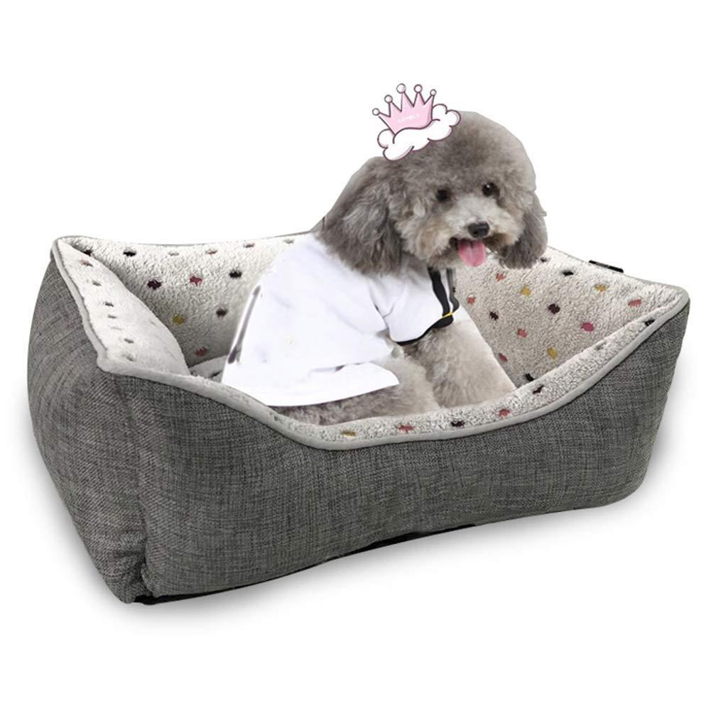 SCDCWW 製品デラックスペットベッド小さな中犬用のぬいぐるみ長方形の巣子犬寝袋クッションのための自己保温ペットベッド (Size : L)  Large
