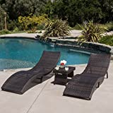 Maureen Outdoor 3pc PE Wicker Folding Chaise Lounge Chair & Table Set For Sale