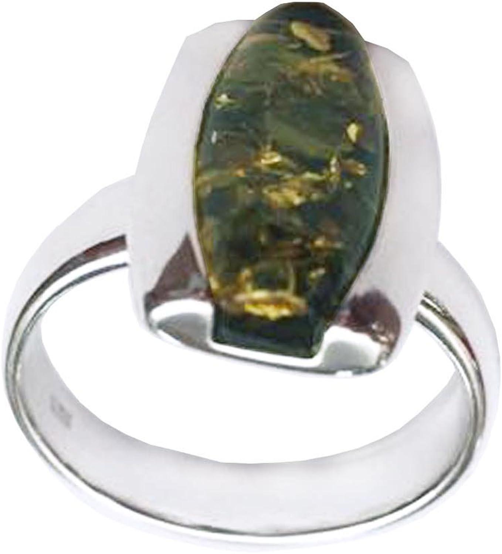 Creazioni Oro Anillo en Plata 925 con Ambar Baltica Verde en forma Piedra de forma irregular R0846