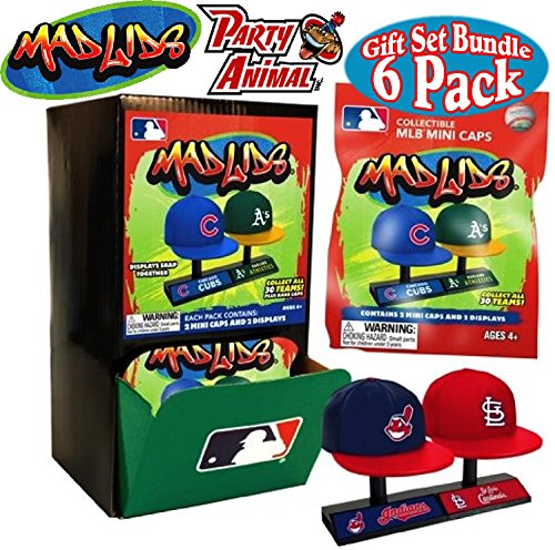Party Animal Mad Lids MLB Mini Baseball Caps Blind Bags Gift Set Party Bundle - 6 Pack ()