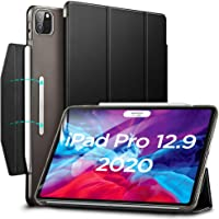 "ESR Yippee Trifold Smart Case for iPad Pro 12.9"" 2020, Lightweight Stand Case with Clasp, Auto Sleep/Wake [Supports Apple Pencil 2 Wireless Charging], Hard Back Cover for iPad Pro 12.9"",Black"