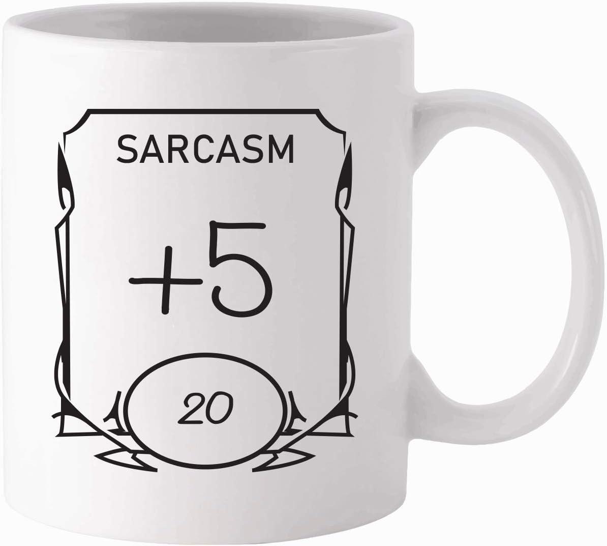D&D Stats Mug - Sarcasm 11oz White Ceramic Coffee Mug - Dungeons and Dragons - RPG - DnD - Gift for Geeks