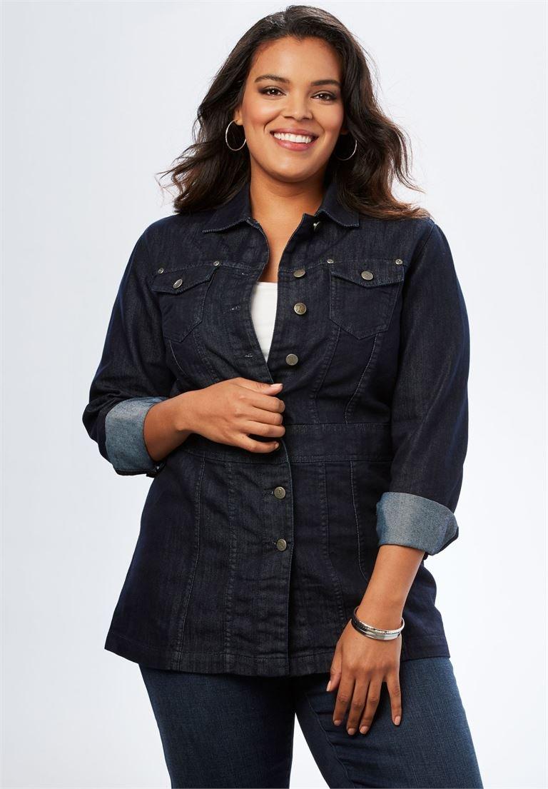 82126ffe123 Galleon - Roamans Women s Plus Size Long Jean Jacket - Black Blue Denim