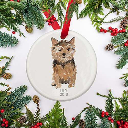 (Norfolk Terrier Dog Christmas Ornament Personalized Ornament Terrier for Dog Lover Terrier's 1st Christmas Family Dog Gift)