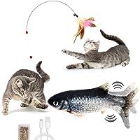 Veool Juguete Eléctrico Pescado para Gato Pez Gato Menta Juguete de Felpa Recargable por USB Juguete Divertido…