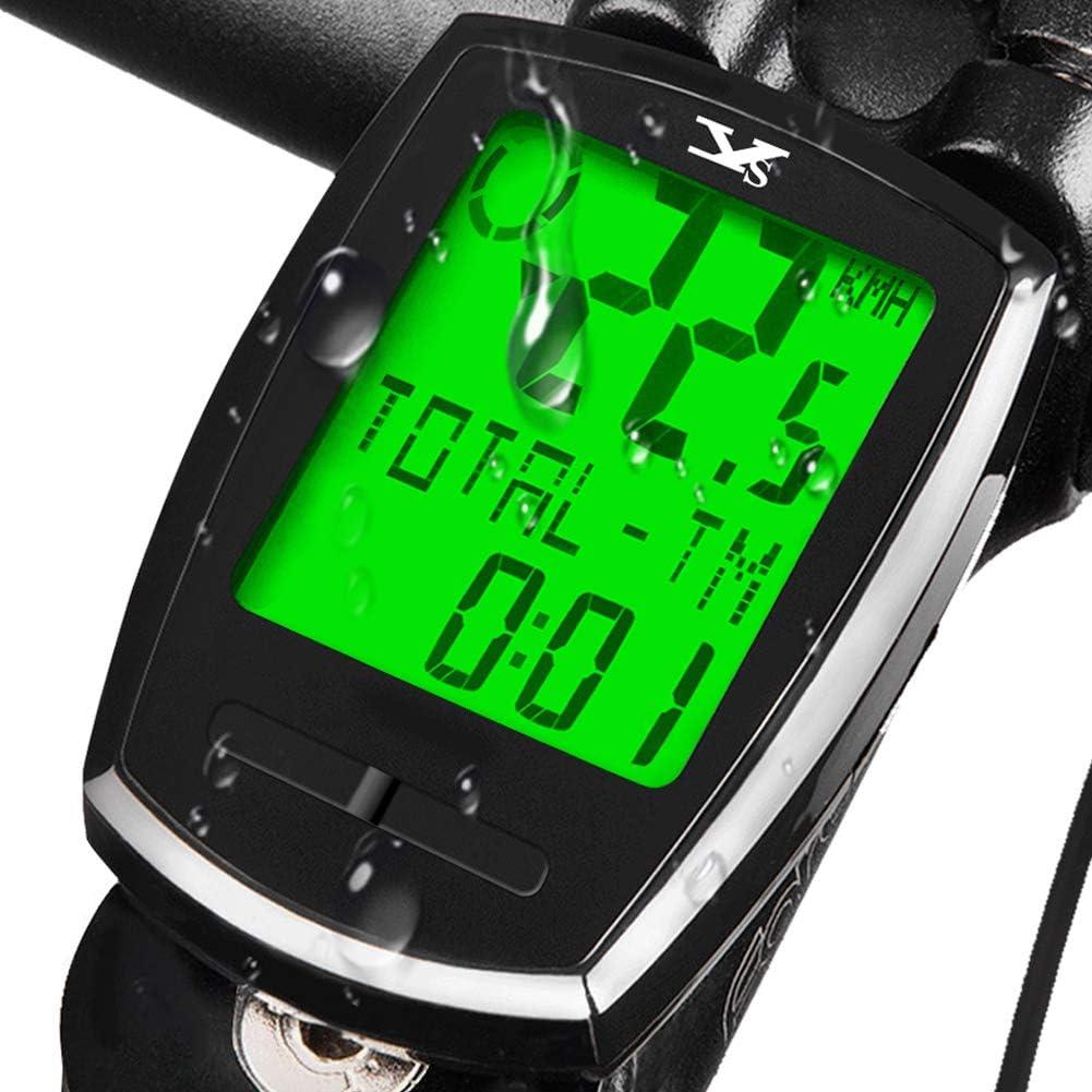 KASTEWILL Inalámbrico Computadora de Bicicleta Impermeable Bici Velocímetro de Bicicleta con Español 23 Funciones con LCD Iluminar Cuentakilómetros para Bicicleta Odómetro Podómetro Ciclocomputadores